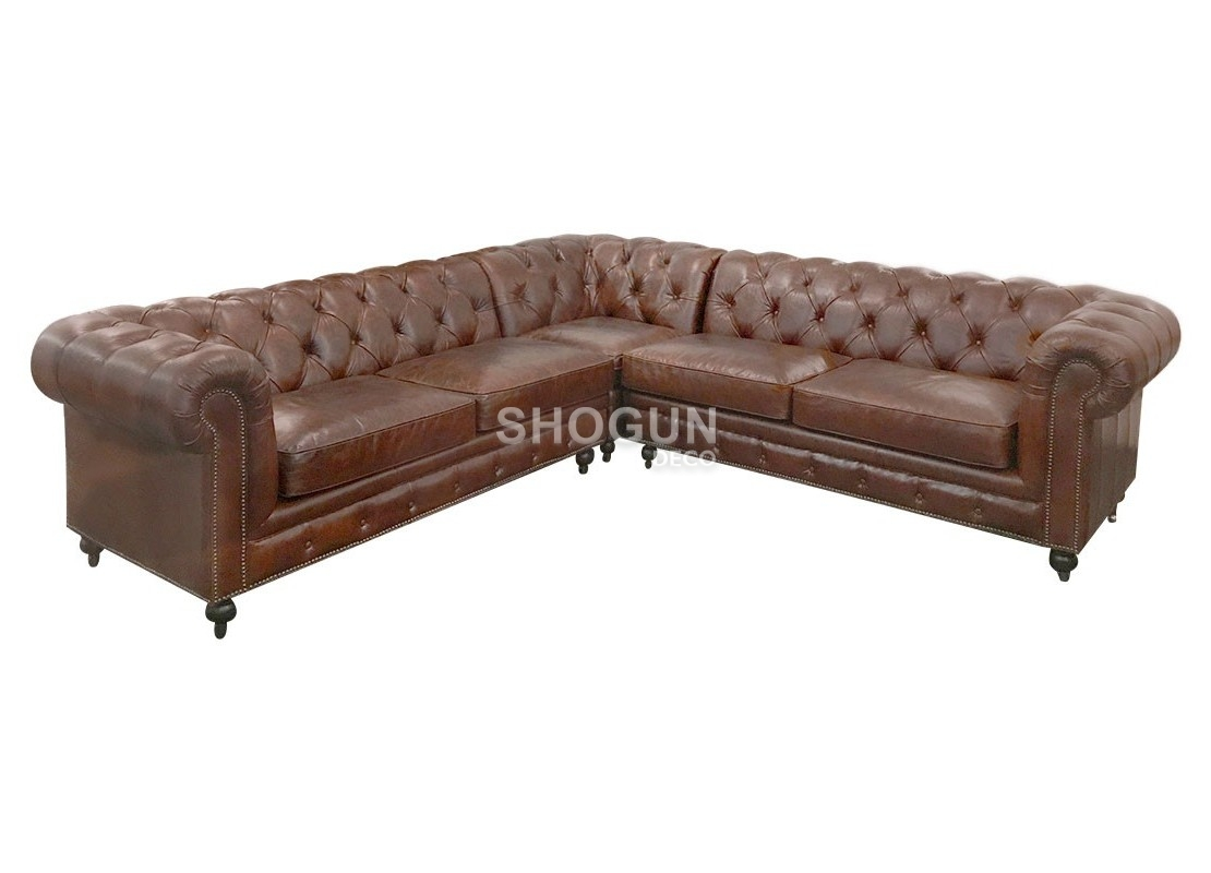 canap d 39 angle cuir chesterfield avec roulettes marron. Black Bedroom Furniture Sets. Home Design Ideas