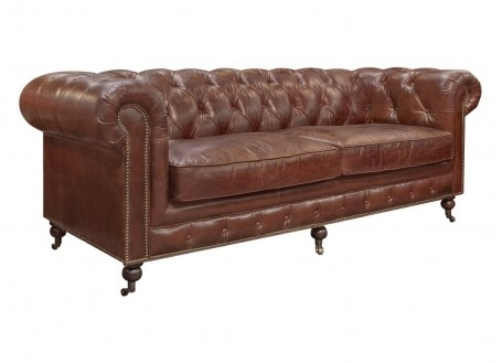 Canapé Chesterfield en cuir marron cigare - 3 places