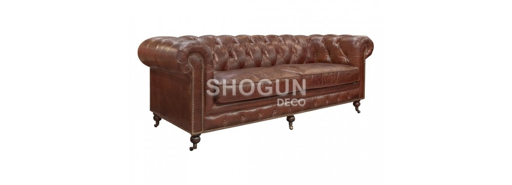 Chesterfield sofa, 3 seaters - Brown leather