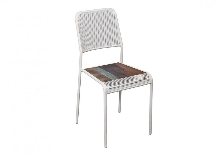 Chaise Sixties - Finition crème - Métal et assise bois