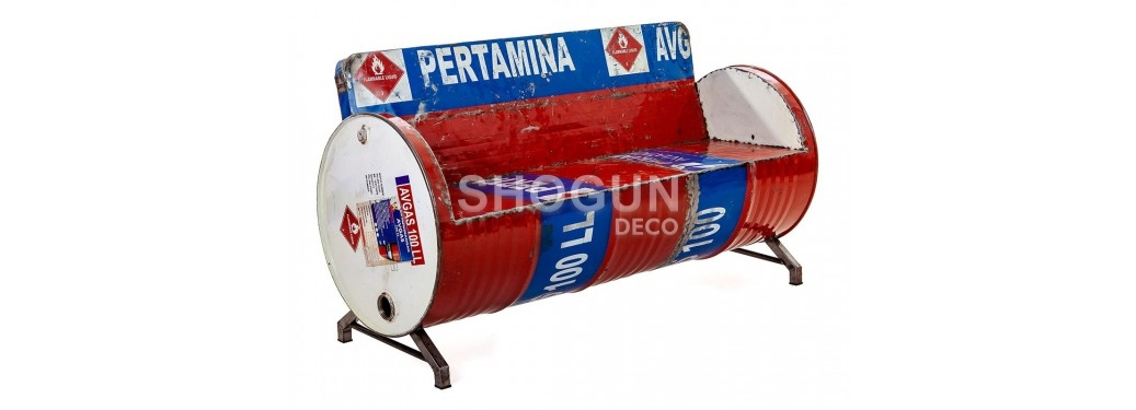 Canapé en bidon recyclé - artisanat - L140 cm