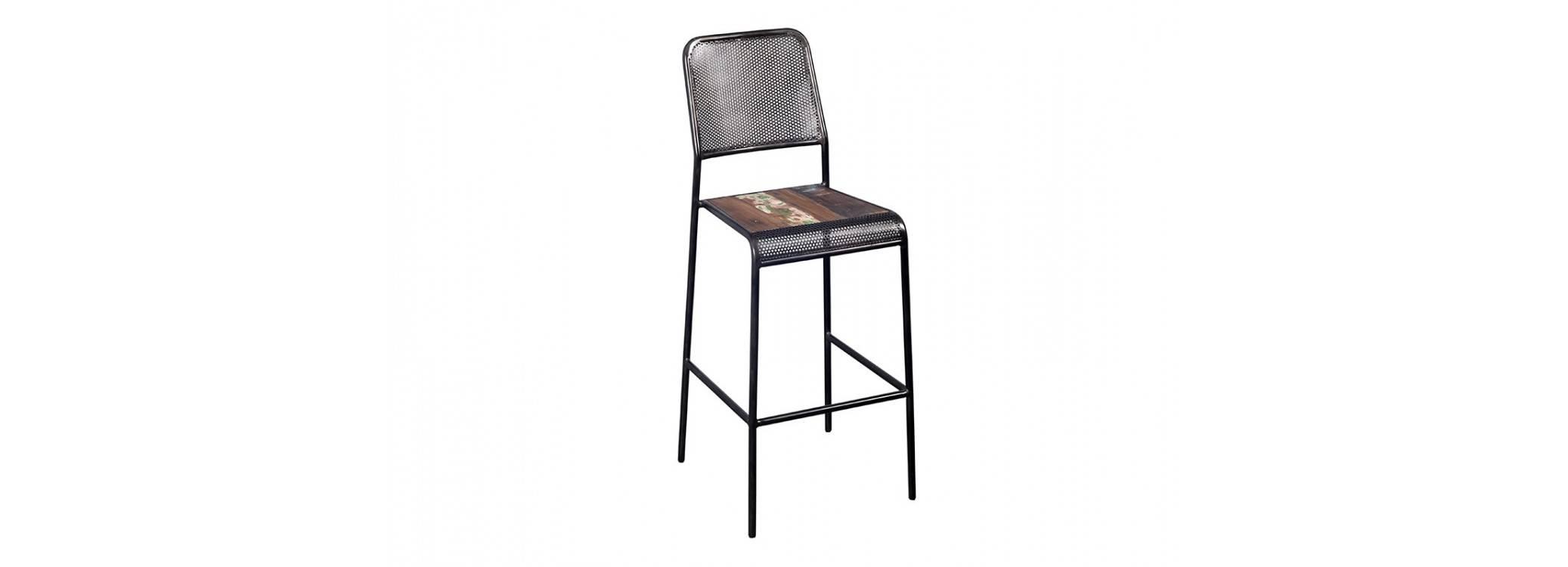 Chaise haute de bar avec dossier - Noir