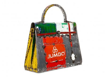 Statue sac à main en bidons recyclés - artisanat
