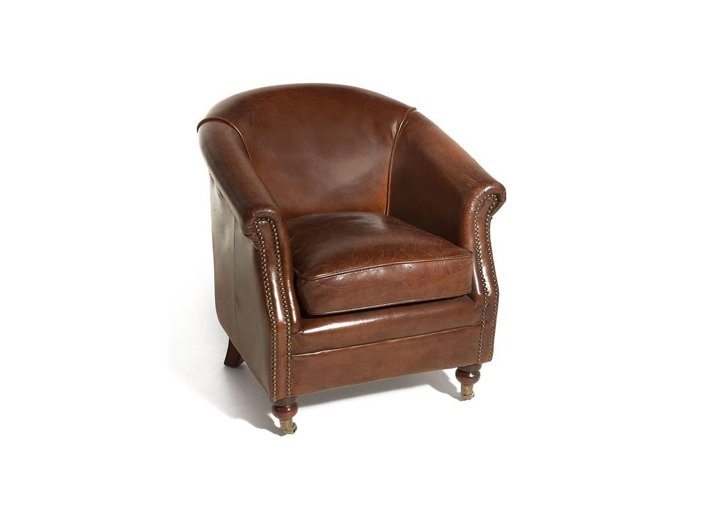 Fauteuil club Hugo avec roulettes - Cuir marron