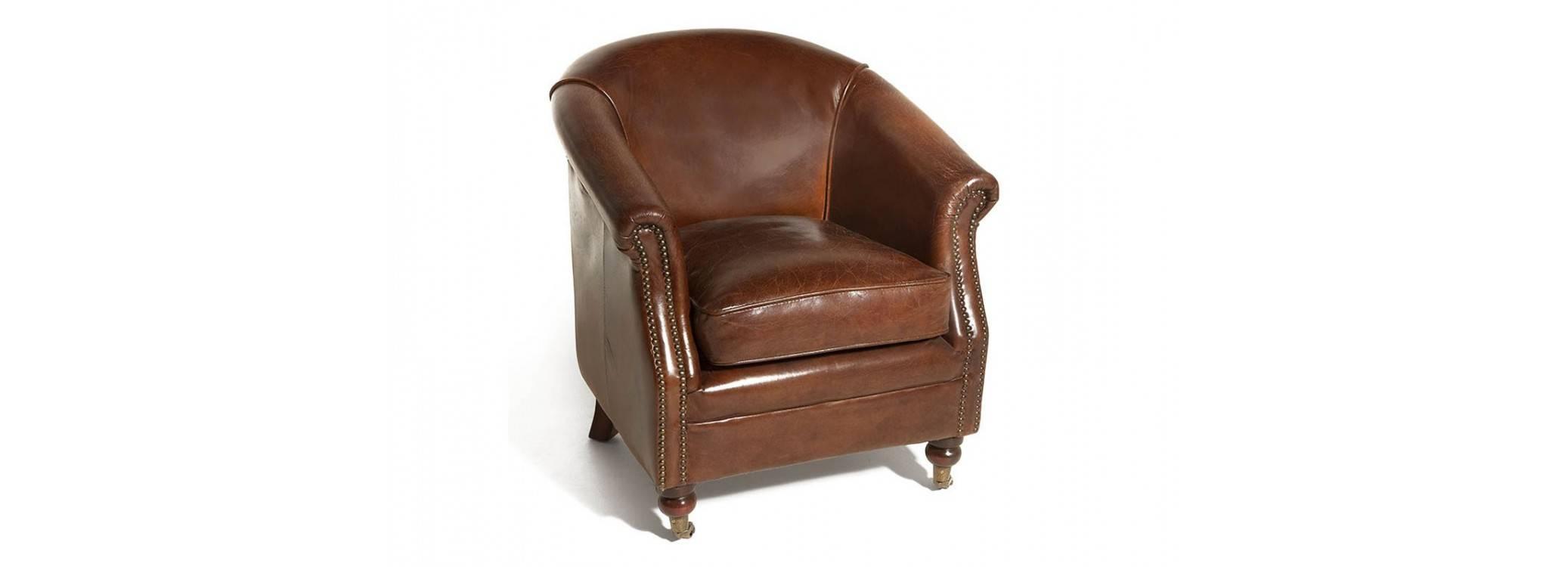 Club armchair Hugo - Brown leather