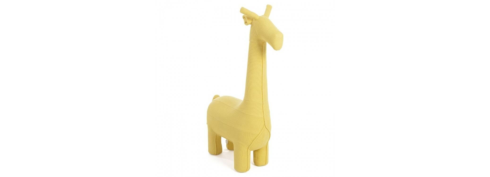 Pouf - tabouret girafe jaune. 128 cm