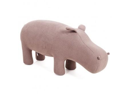 Pouf - tabouret hippopotame marron. Fil de coton tricoté. 105 cm
