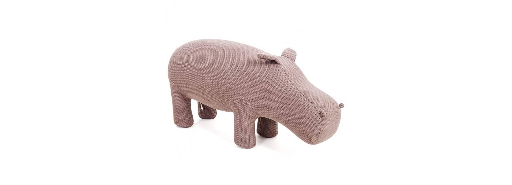 Pouf - tabouret hippopotame marron