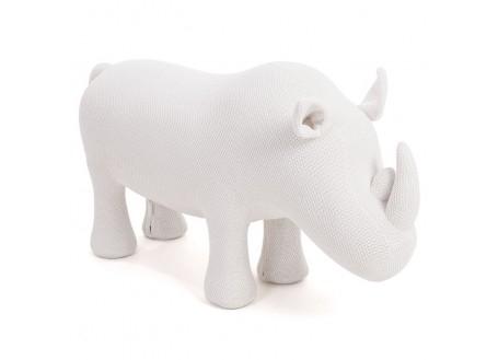 Pouf - tabouret rhinocéros blanc. 116  cm