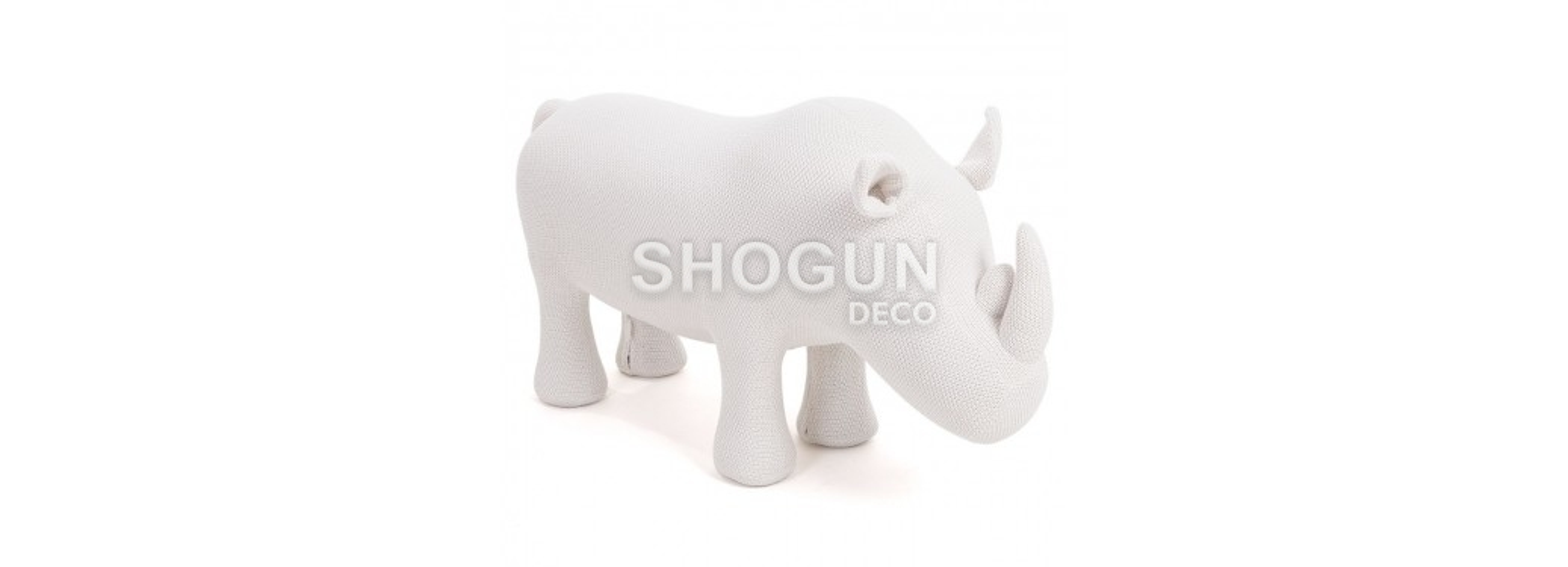 Pouf - tabouret rhinocéros blanc