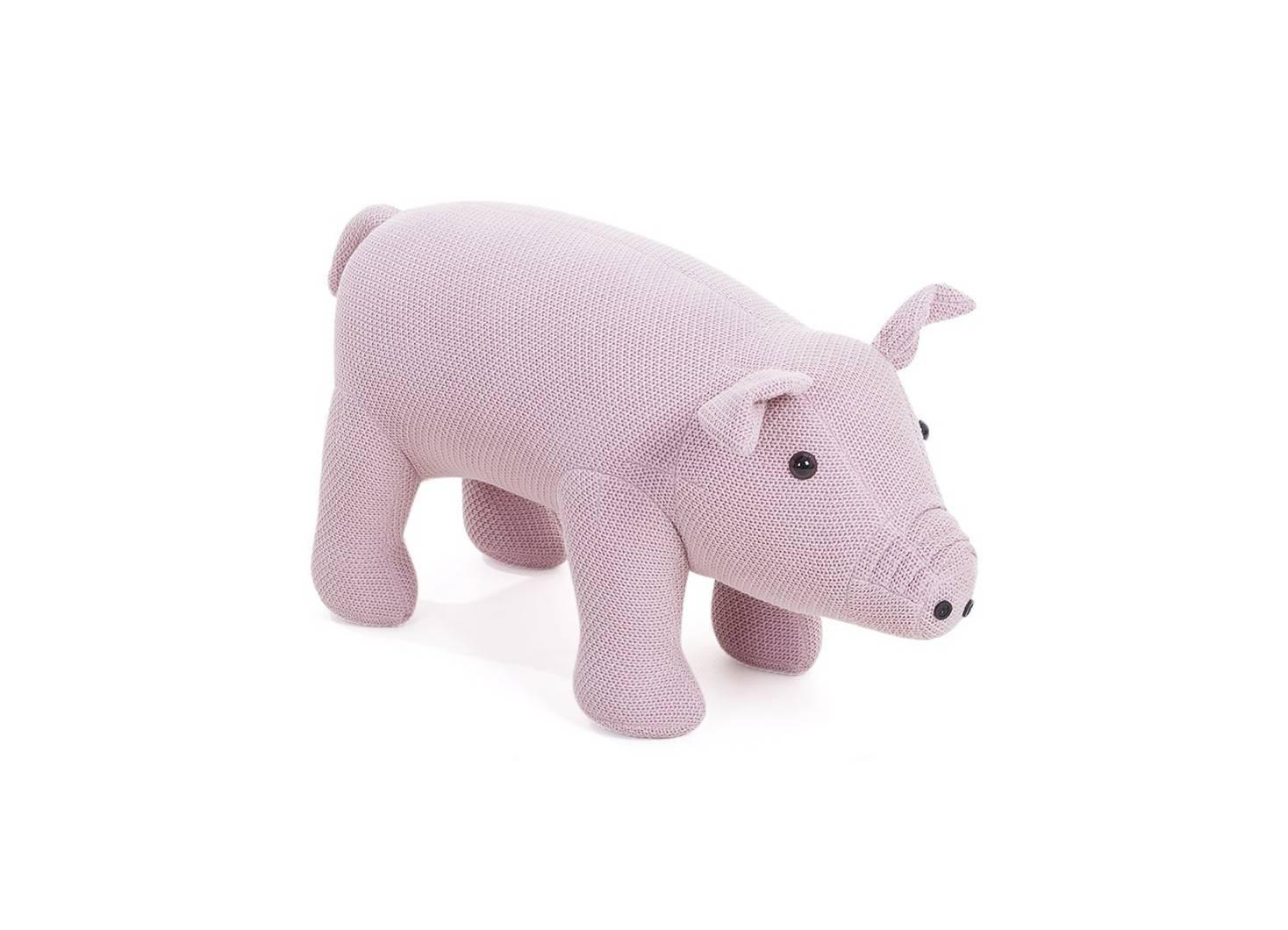 Pouf - banc cochon rose 74 cm