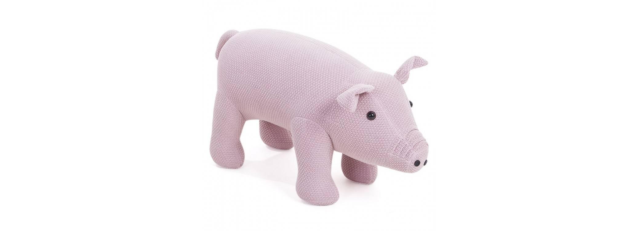 Pouf - tabouret cochon rose bébé 74 cm