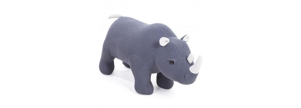 Pouf - tabouret rhinocéros gris . 107 cm