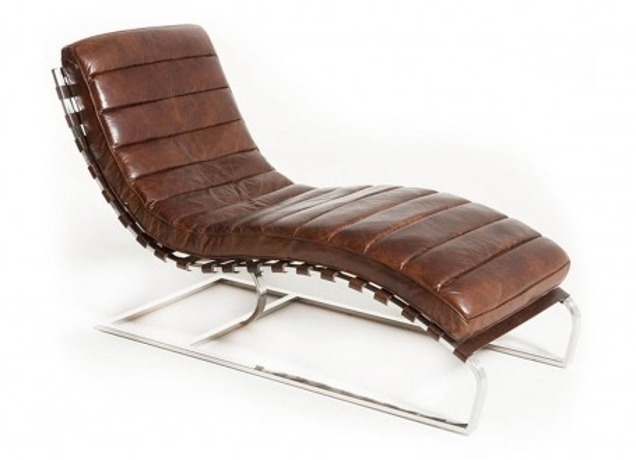 Chaise longue lounge en cuir marron et inox