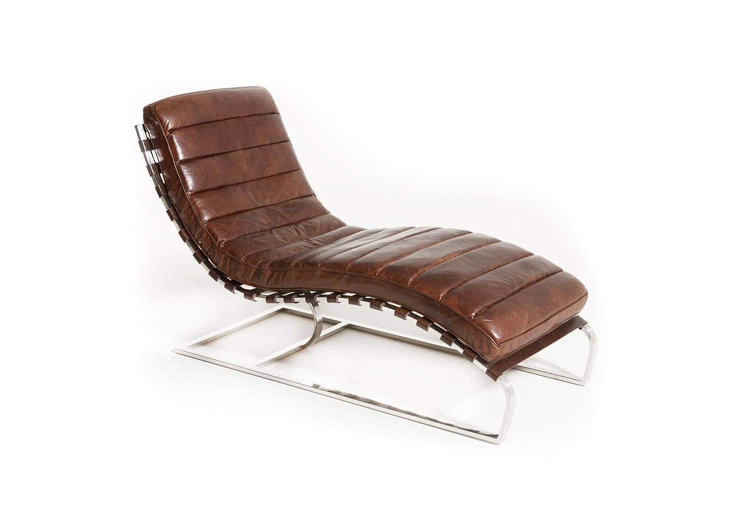 Chaise Longue M 233 Ridienne Lounge Cuir Marron Cigare