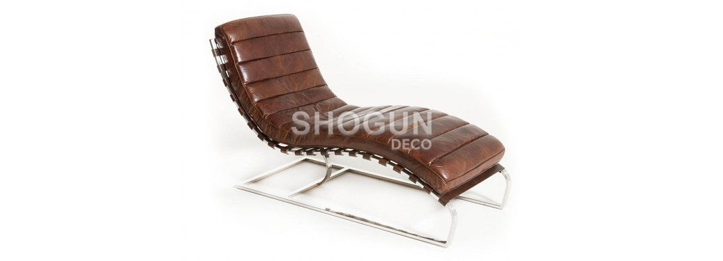 Chaise longue / Méridienne Lounge cuir marron cigare
