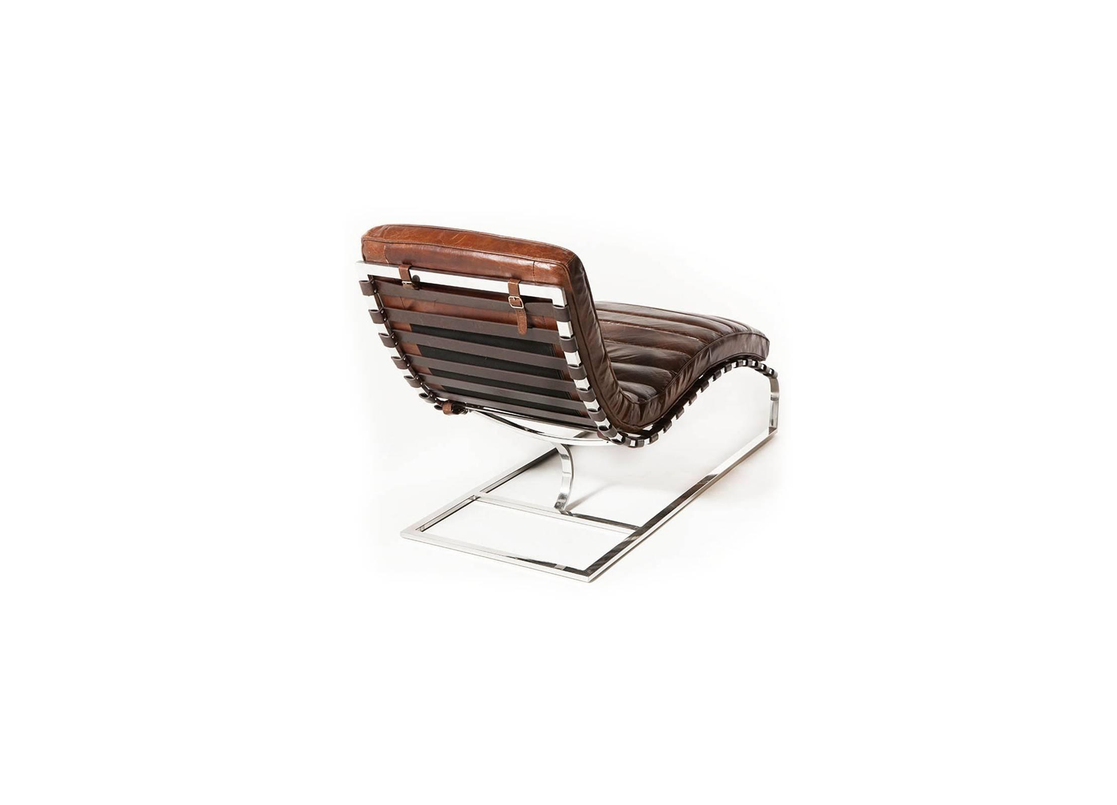 chaise longue m ridienne lounge cuir marron cigare cuir de vachette pleine fleur structure. Black Bedroom Furniture Sets. Home Design Ideas