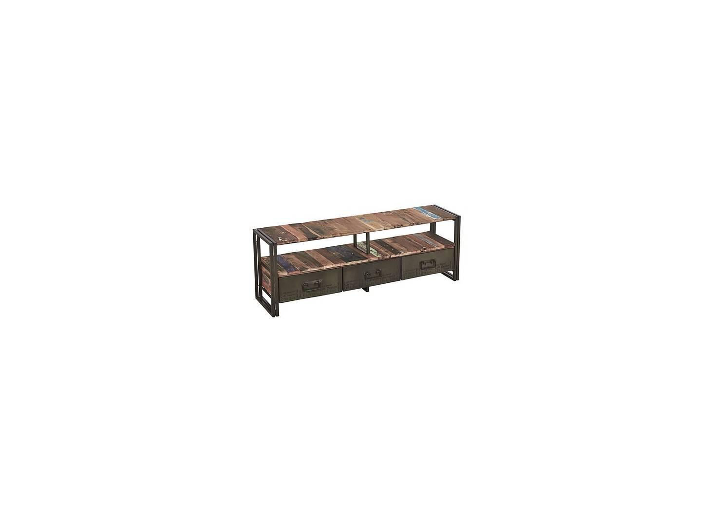 Meuble TV industriel Edito - 3 tiroirs