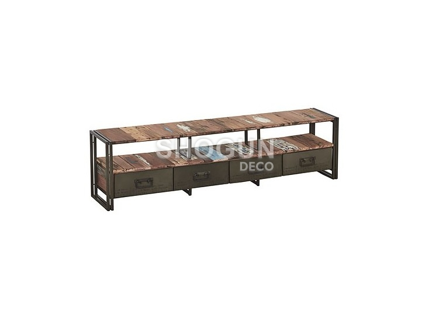 Meuble TV industriel Edito - 4 tiroirs