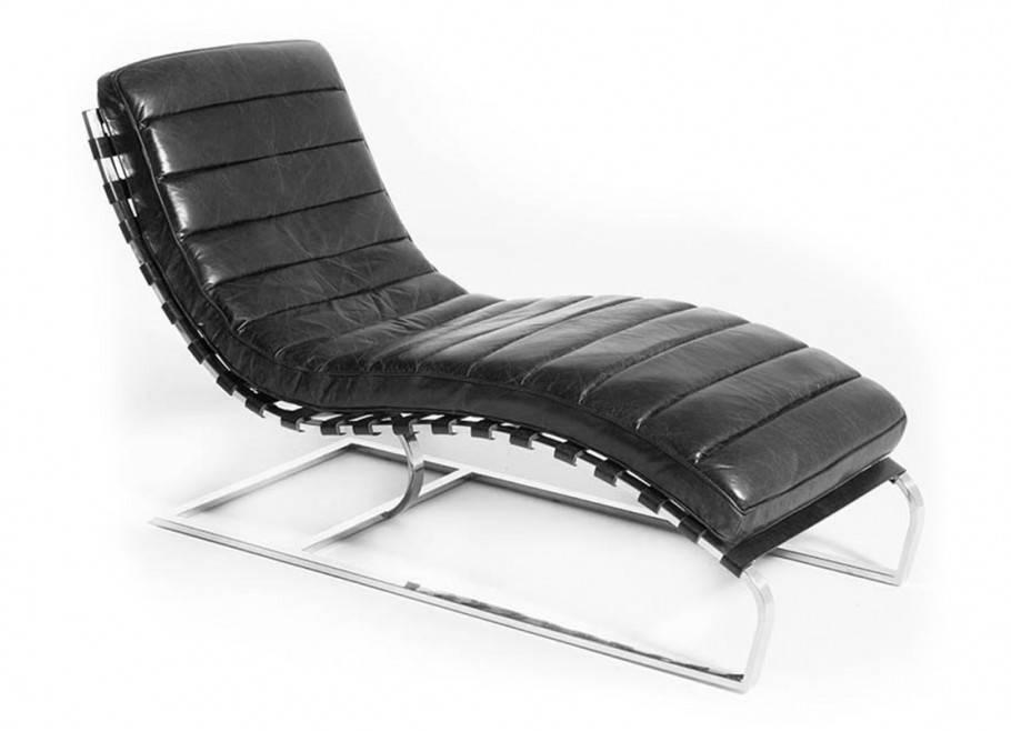 Chaise longue Lounge - Cuir noir et inox
