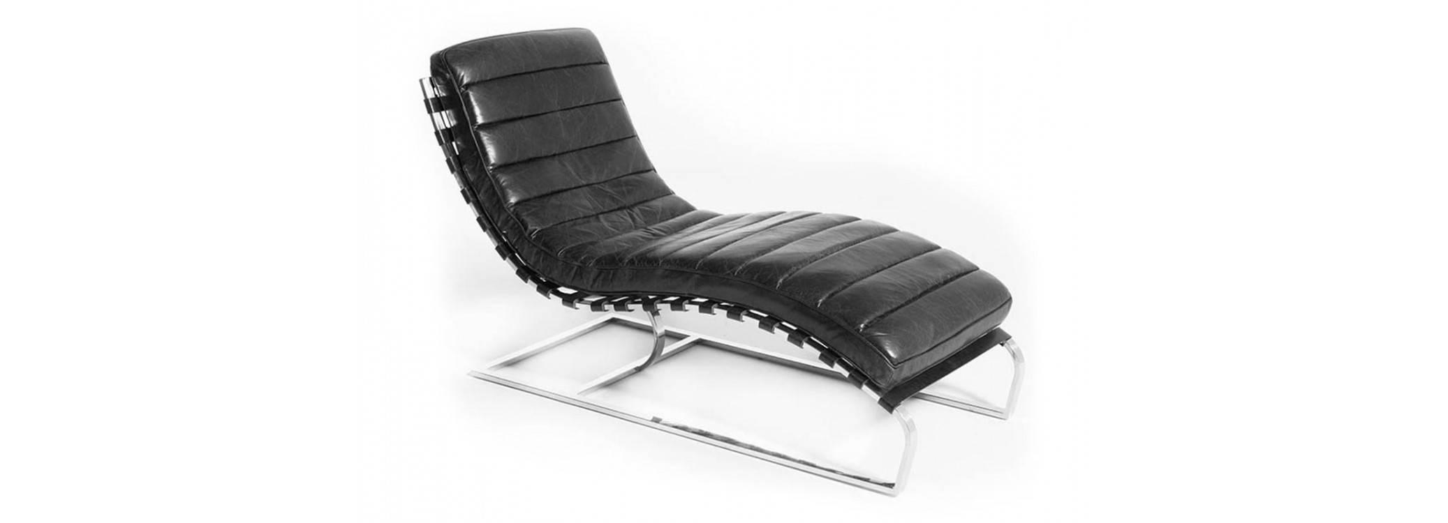 Chaise longue / Méridienne Lounge cuir noir