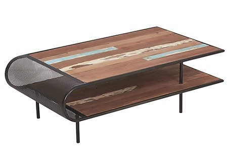 Table basse rectangulaire industrielle Influence, plateau double