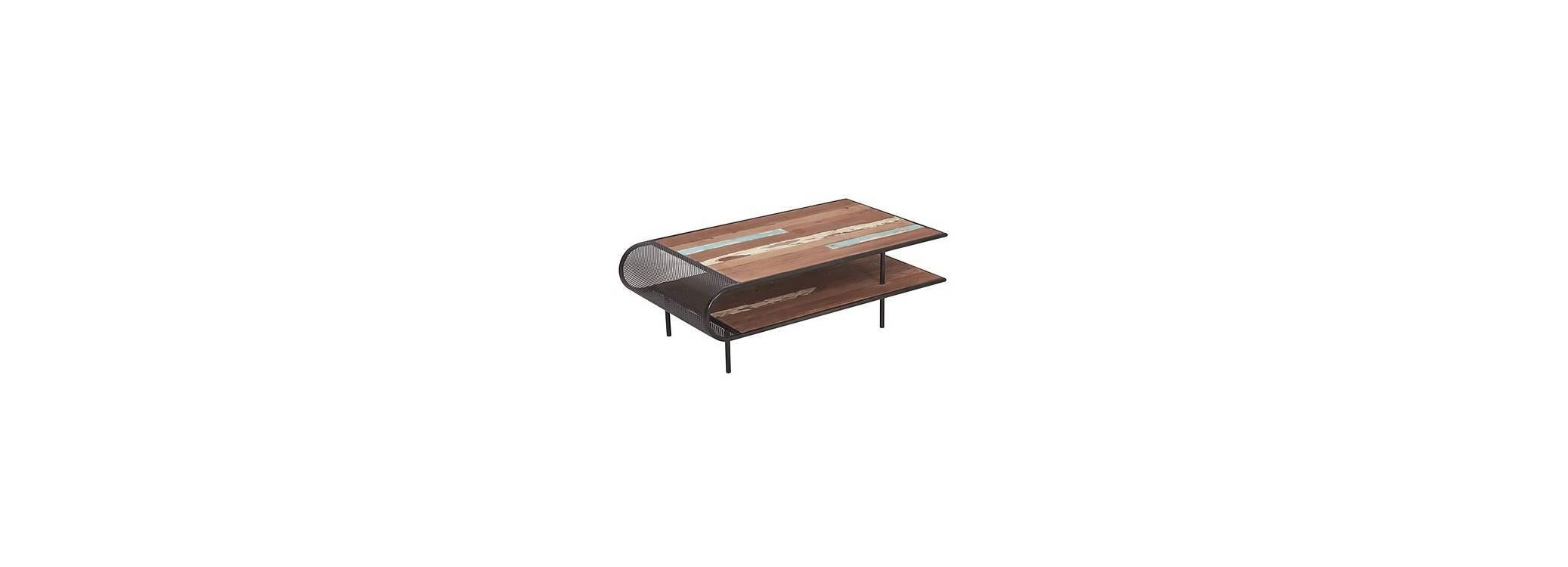 Table basse rectangulaire Aru, plateau double