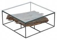 Table basse Influence carrée avec plateau en verre