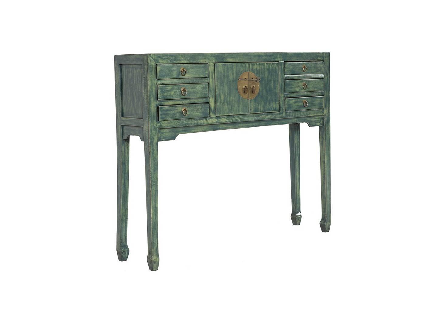 console 2 portes et 6 tiroirs en bois massif avec finition laqu e. Black Bedroom Furniture Sets. Home Design Ideas