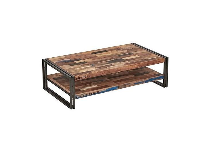 Table basse rectangulaire industrielle Samudra avec 2 plateaux