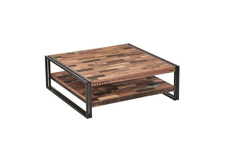 Table basse carrée industrielle Samudra avec 2 plateaux