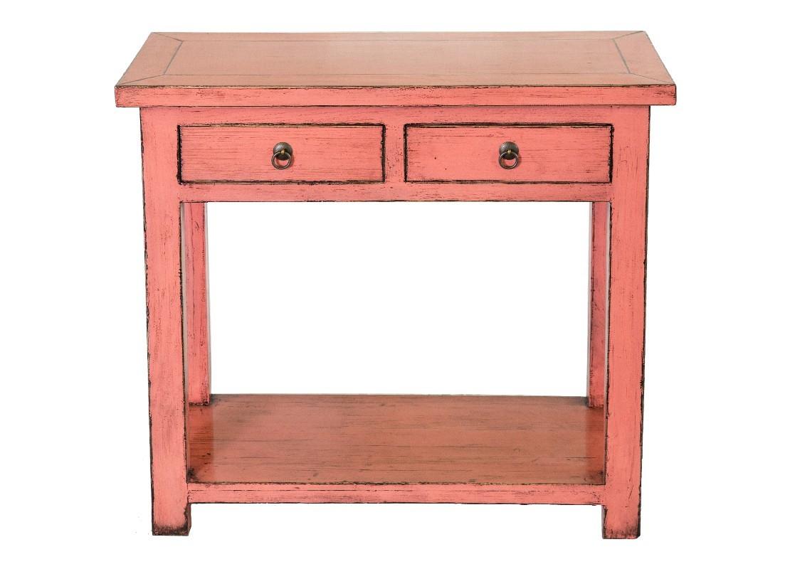 console 2 tiroirs et 1 tablette en bois massif avec finition laqu e. Black Bedroom Furniture Sets. Home Design Ideas