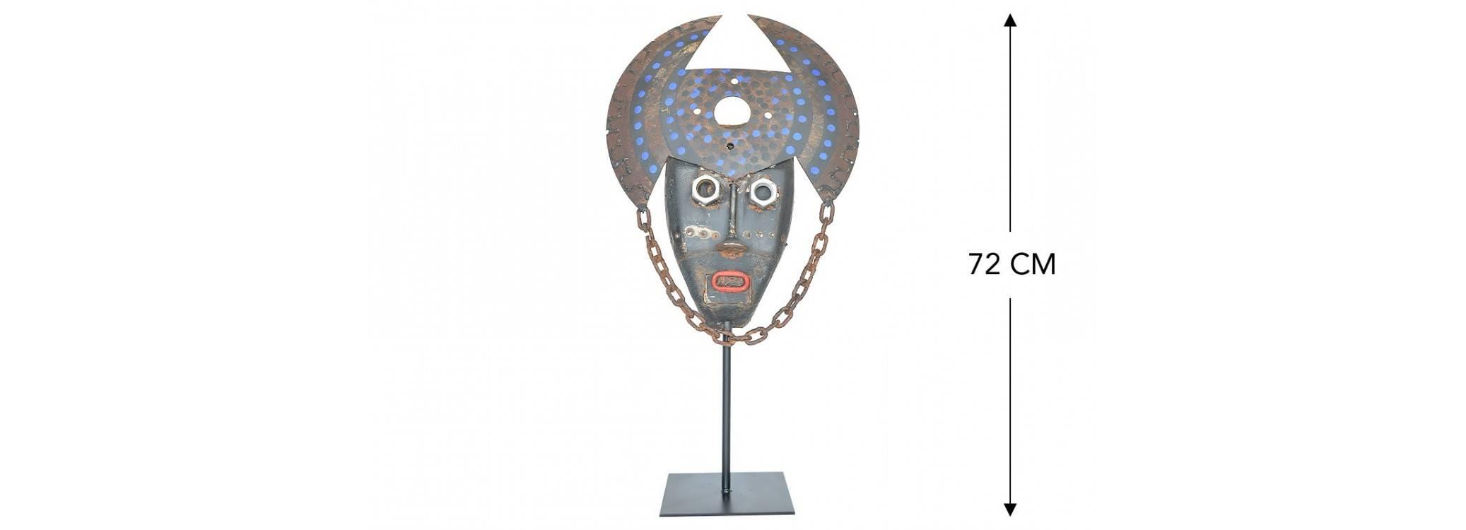 Masque décoratif en métal récupéré - Pièce unique