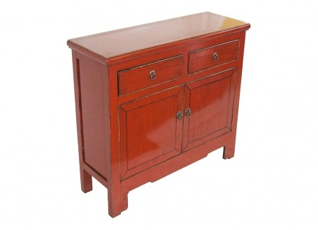 Buffet Chinois - 2 portes 2 tiroirs - Rouge