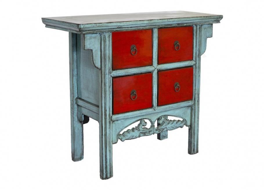 Commode Chinoise - 4 tiroirs - Bleu et rouge
