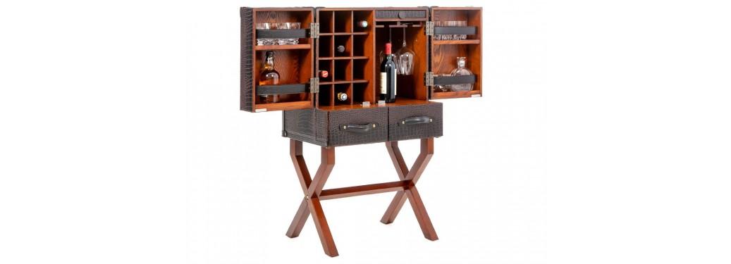 Malle-bar sur stand Cap Horn moyen modèle - Marron foncé façon croco