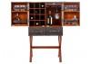 Malle bar sur stand Cap Horn - Gramodèle - Simili cuir croco marron foncé