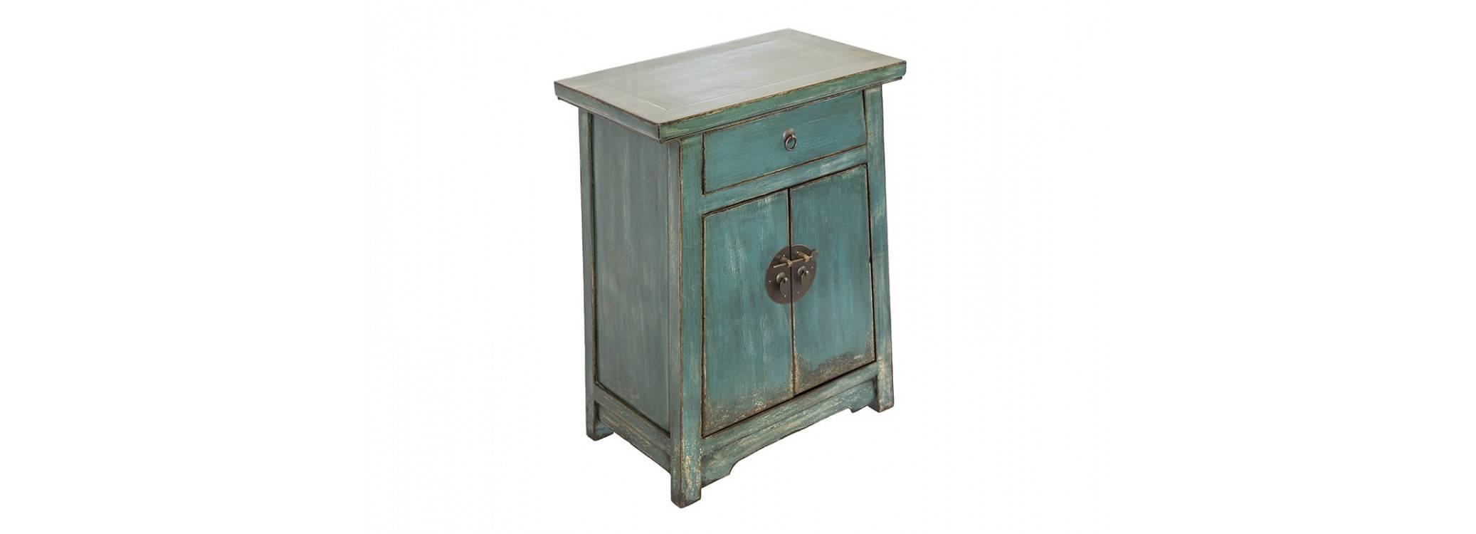 Meuble d'appoint Chinois - 2 portes 1 tiroir - Vert d'eau