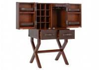 Malle bar sur stand Cap Horn - Petit modèle - Simili cuir marron foncé