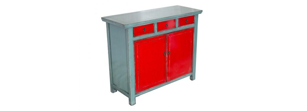 Buffet Chinois- 2 portes 3 tiroirs - Bicolore