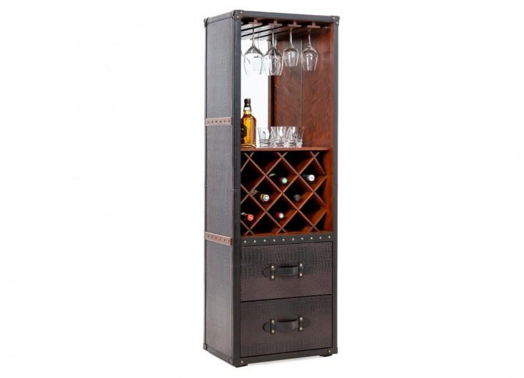 Meuble bar - Malle bar / présentoir vins et liqueurs Cap Horn simili cuir croco marron foncé