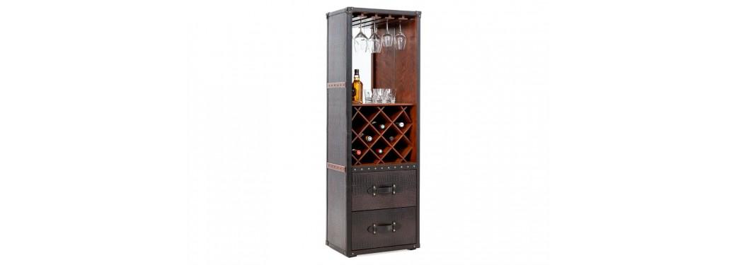 Malle bar / Présentoir à vins et liqueurs Cap Horn - Façon croco marron