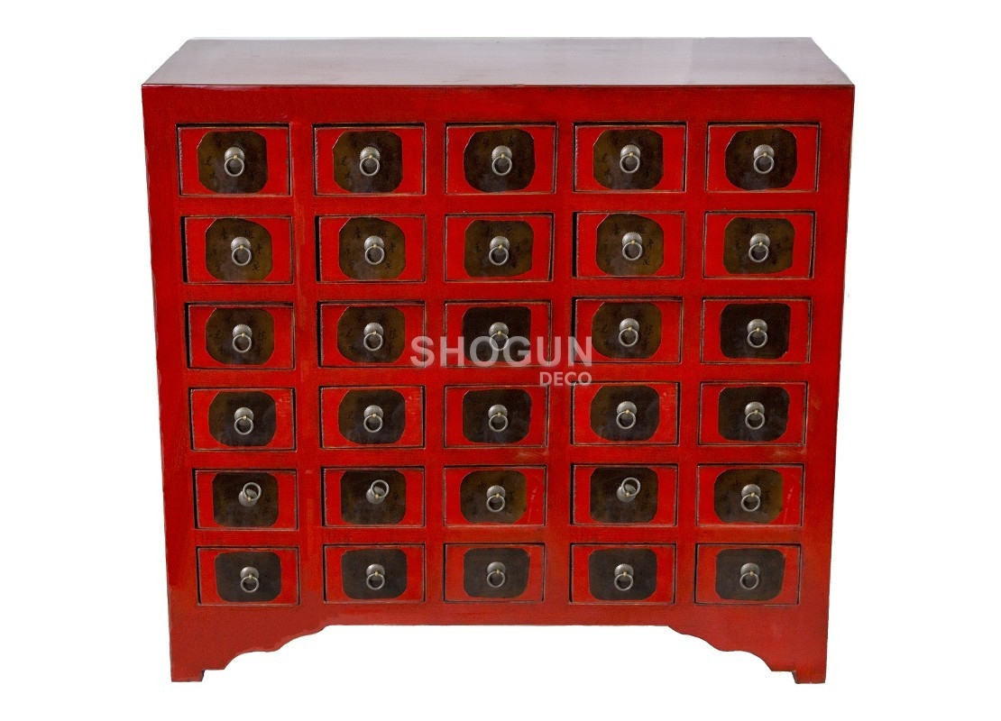 commode style chinois 30 tiroirs en bois massif finition. Black Bedroom Furniture Sets. Home Design Ideas