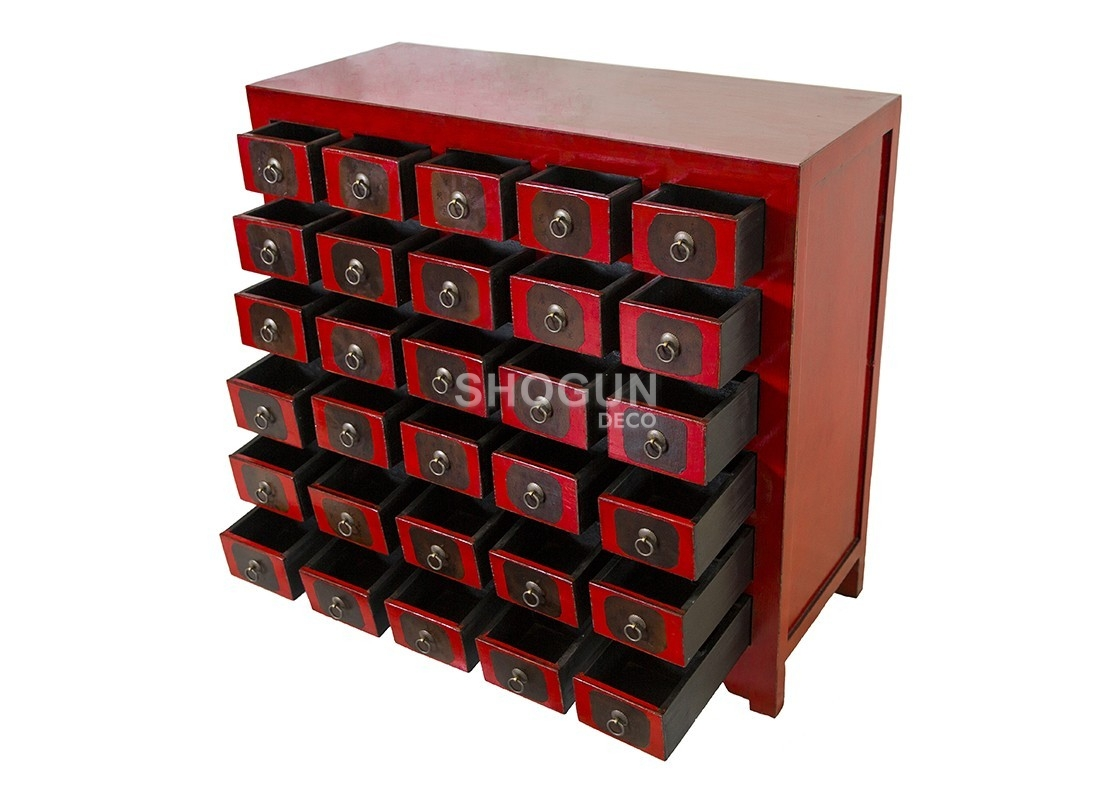 commode style chinois 30 tiroirs en bois massif finition laqu e rouge. Black Bedroom Furniture Sets. Home Design Ideas