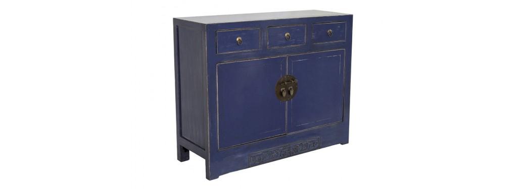 Buffet Chinois - 2 portes 3 tiroirs - Bleu profond