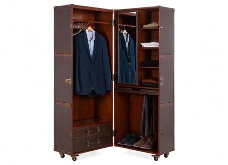 Malle garde robe Cap Horn - Simili cuir marron foncé