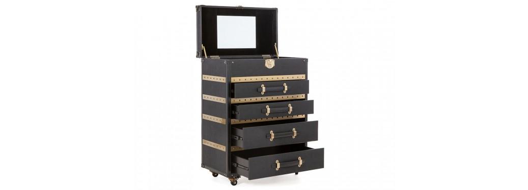 MAlle sur roulettes Cap Horn - 4 tiroirs - Façon Galuchat noir