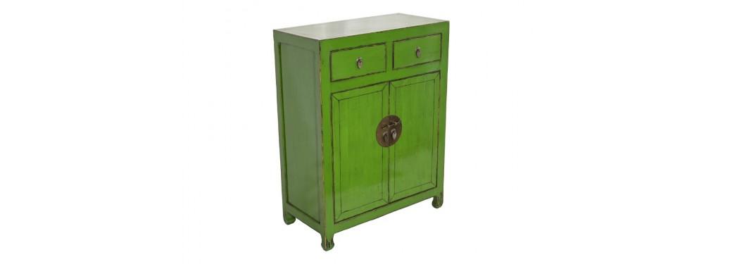 Buffet Chinois - 2 portes 2 tiroirs - Vert vif