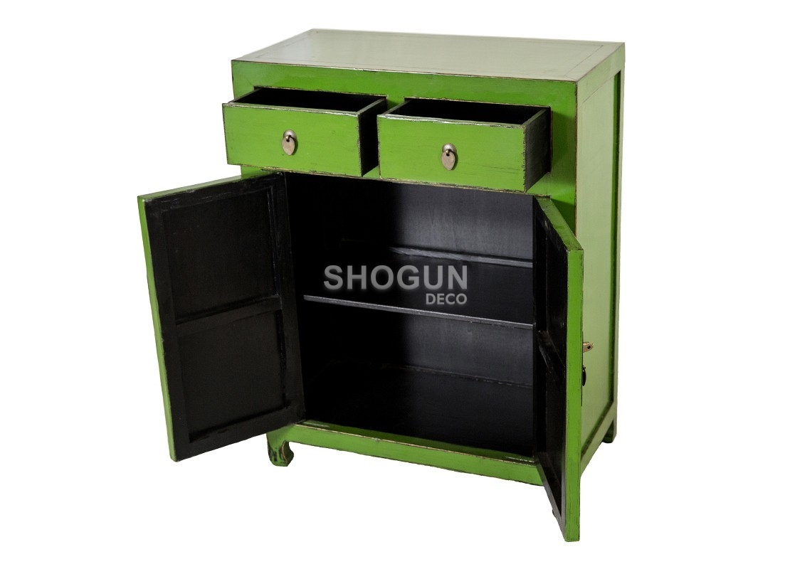 buffet en bois massif finition laqu e verte avec 2 portes. Black Bedroom Furniture Sets. Home Design Ideas