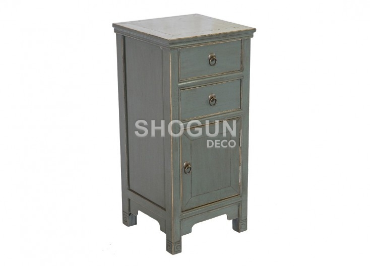 Meuble d'appoint Chinois - 1 porte 2 tiroirs - Vert d'eau